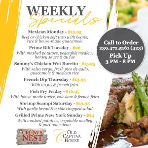 old captiva house weekly specials